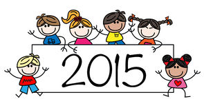 New year 2015 mixed ethnic children Royalty Free Stock Images