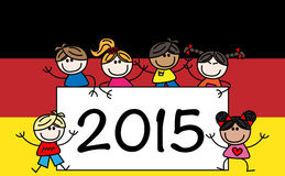 New year 2015 mixed ethnic children. Header or banner stock illustration
