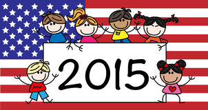 New year 2015 mixed ethnic children. Header or banner vector illustration