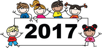 2017 new year. Mixed ethnic children header or banner stock illustration