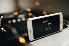 New Year mobile phone screen royalty free stock images