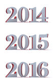 2014 - 2015 - 2016 - New year. Moder style 2014,2015 and 2016  on white. Red glossy plastic core Stock Photo
