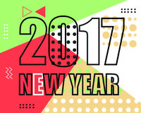 2017 new year modern banner. Geometric memphis style with shapes.Vector Illustration. EPS 10 Vector Illustration