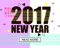 2017 new year modern banner. Geometric memphis style with shapes. Vector Illustration EPS 10 Vector Illustration