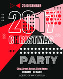 2017 new year modern clubbing party fllyer. Geometric memphis style with shapes. Vector Illustration. EPS 10 Stock Illustration