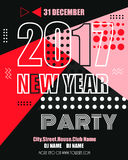 2017 new year modern clubbing party fllyer. Geometric memphis style with shapes. Vector Illustration. Eps 10 Royalty Free Illustration