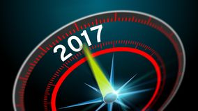 New Year 2017. Modern virtual speedometer showing in 2017. Business concept blurred background at high speed Stock Photo