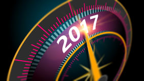 New Year 2017. Modern virtual speedometer showing in year 2017. celebration concept blurred background at high speed Stock Images