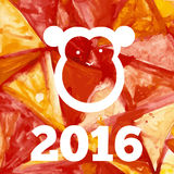 New year of monkey. Monkey with aquarelle effect, happy new year Royalty Free Stock Images