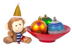 New Year monkey and colorful balls Royalty Free Stock Photography