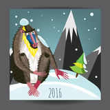 2016 New Year of the monkey. Decorative postcard with blue nose monkey. Mandrill with best wisher in new year. Party poster vector illustrated. Envelope stock illustration