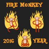 New Year Monkey in the fire. vector illustration Stock Photo