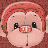 New Year Monkey. Greeting New Year Card with cute red monkey Vector Illustration