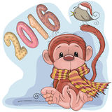 New Year Monkey. Greeting New Year Card with cute red monkey Stock Illustration
