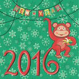 New year 2016 with monkey. Greeting card. Monkey symbol of New year. Vector illustration vector illustration