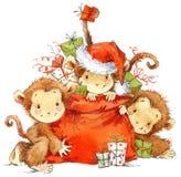 New Year Monkey illustration. New year and Christmas background with monkey Royalty Free Stock Photo