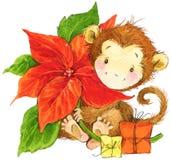 New Year Monkey illustration. New year and Christmas background with monkey Stock Photography