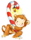 New Year Monkey illustration. New year and Christmas background with monkey Royalty Free Stock Images