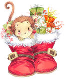New Year Monkey illustration. New year and Christmas background with monkey Royalty Free Stock Photography