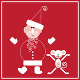 New Year of the Monkey. Illustration of Santa Claus with the monkey on the red background Royalty Free Stock Images