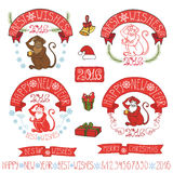 New Year 2016 Monkey labels,decoration. New year 2016 Labels with Monkey.Doodle decoration, ribbons,fir branches and lettering,snowflake.Vintage holiday symbols Vector Illustration