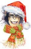 New Year monkey Santa Clause graphics, monkey chimpanzee illustration vector illustration
