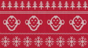 New 2016 year monkey seamless knitted pattern. Scandinavian style new 2016 year monkey seamless knitted pattern Stock Images