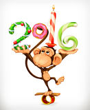 New Year monkey. New Year, monkey vector icon, isolated on white background Royalty Free Stock Photos