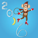 2016 New Year of the monkey. Vector illustration Royalty Free Stock Images