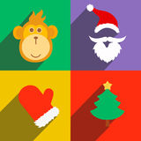New Year, monkey vector illustration. New Year poster icons with monkey, Santa, tree flat vector illustration Stock Image