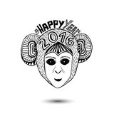 New Year of monkey 2016. vector print design. Stock Photos