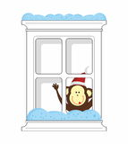 New Year Monkey and winter window Royalty Free Stock Photography