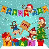 New year 2016 with monkeys. Vector illustration, eps Stock Photo