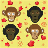 New year monkeys on a yellow background. Monkeys are funny and sad hat Stock Photo