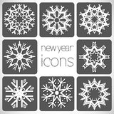 New Year Monochrome Icons Set with snowflakes. Stock Images