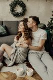 New year mood, cacao marshmallow, laugh. Love couple spend grean christmas time stock photo