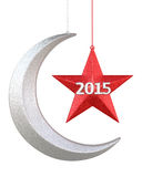 New Year 2015. Moon and star shape christmas decorations render (isolated on white and clipping path Stock Photography