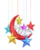 New Year 2015. Moon and stars shape christmas decorations render (isolated on white and clipping path Stock Images