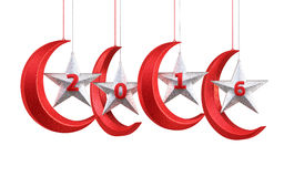 New Year 2016. And moon stars shape render (isolated on white and clipping path Royalty Free Stock Images