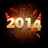 New year mosaic and party hat background. New year 2014 Background with party hat and mosaic star burst stock illustration