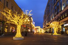 New Year in Moscow. Arbat street in the early morning. Russia Royalty Free Stock Photos
