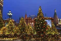 New Year Moscow, the festival `Journey to Christmas`. Fairy-tale forest on Manezhnaya Square. Russia Royalty Free Stock Photos