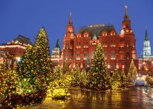 New Year Moscow, the festival `Journey to Christmas`. Manezhnaya squar. E. Russia Royalty Free Stock Photos