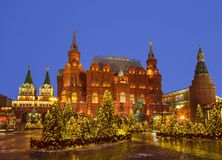 New Year Moscow, the festival `Journey to Christmas`. Manezhnaya square. Russia Royalty Free Stock Photography