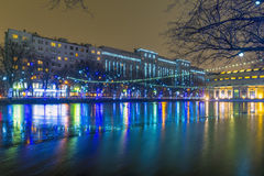 New year in Moscow. Festive illuminations in the city center Stock Photos