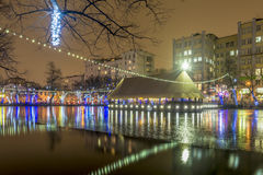 New year in Moscow. Festive illuminations in the city center Royalty Free Stock Images