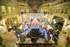 New year in Moscow. GUM trading house. Royalty Free Stock Photos