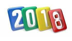 New Year 2018. 2018 Multicolor Tablet. Isolated on white background. 3D rendering Stock Photo