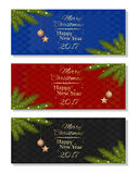 New Year 2017. Multicolored christmassy backgrounds set Royalty Free Stock Image