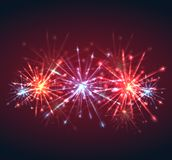 New Year multicolored fireworks with sparks and explosions. Vector element for your creativity Stock Images